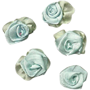 SOLD 5 AMERICAN Hand Made PALE BLUE Silk Ribbon Floral Applique/Embellishment!
