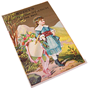 VICTORIAN Trade Card - Muzzy's Sun Gloss Starch - Little Girl Carrying Flowers!