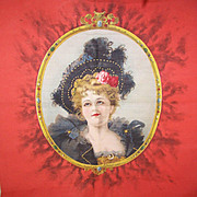 "Rare VICTORIAN ""Merry Widow"" Pillow Top - Lovely Lady in Black!"