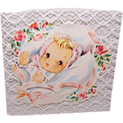 """Adorable C.1950 UNUSED """"Welcome Baby"""" Card!"""
