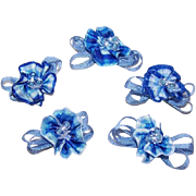 SOLD Set/5 Hand Made Rayon Silk Ribbon Florals/Appliques/Embellishments!