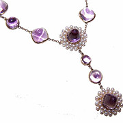 ANTIQUE EDWARDIAN 14K Gold, Amethyst & Natural Pearl Necklace!