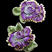 2 VINTAGE Silk Rayon Ribbon Rose Applique/Embellishments - Purple/Pink Ombre!
