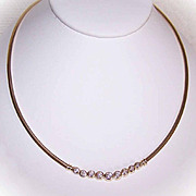Stunning ESTATE 14K Gold & 1.53CT TW Diamond Omega Chain Necklace!