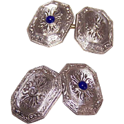 ART DECO 14K Gold, Diamond & Sapphire Cufflinks/Cuff Links!