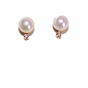 Vintage 14K Gold, 6mm Cultured Pearl & Accent Diamond Earrings!