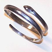 50s STERLING SILVER & Niello Arm Bracelet - One Fabulously Lengthy Snake!