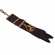 Vintage FRENCH GOLD FILLED Rabbit Charm on a Black Grosgrain Watch Fob Ribbon!