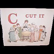 C.1890 KATE GREENAWAY Print - C is for Cut It!