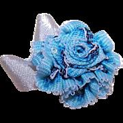 VINTAGE Silk Rayon Ribbon Rose Applique/Embellishment - Pale Blue/Dark Blue Ombre!