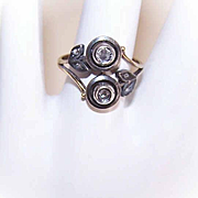 ANTIQUE VICTORIAN 14K Gold, Sterling Silver & Rose Cut Diamond Ring!