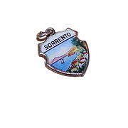 Vintage 800 Silver & Enamel Travel Shield Charm - Sorrento!