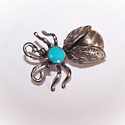 Vintage STERLING SILVER & Turquoise Insect Pin - Native American Design!