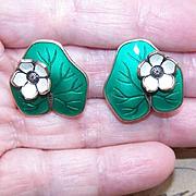 """Vintage DAVID-ANDERSEN Sterling Silver & Enamel """"Lily Pad"""" Earrings!"""