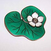 "Vintage David-Andersen Sterling Silver & Enamel ""Lily Pad"" Pin/Brooch"