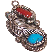 Vintage STERLING SILVER Pendant/Charm with Turquoise & Red Coral - Native American Design!