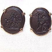 Rare Vintage WEDGWOOD 14K Gold & Black Basalt Cufflinks!