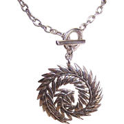 Vintage STERLING SILVER Necklace by Barse - Leafy Swirl Design!