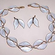 """Vintage STERLING SILVER & Enamel """"Double Leaf"""" Set by David-Andersen, Norway!"""