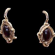 VICTORIAN REVIVAL 14K Gold & 2 CT TW Garnet Cab Earrings!