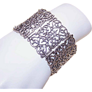 W-I-D-E Vintage Sterling Silver Link Bracelet!