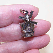 Vintage EUROPEAN Sterling Silver Souvenir Charm - Dutch Windmill with Tulips!