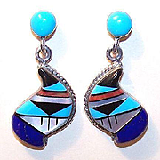 Vintage STERLING SILVER & Multi-Stone Inlay Drop Earrings - Southwest/Native American Style!