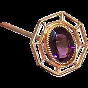 ANTIQUE EDWARDIAN Gilt Metal & Amethyst Paste Hat Pin!