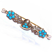ANTIQUE VICTORIAN 14K Gold, Rose Cut Diamond, Turquoise & Natural Pearl Sweetheart Pin/Brooch!