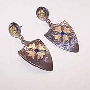 Medieval Inspired 18K Gold, .40CT TW Sapphire & Silver Drop Earrings by James Cleland!