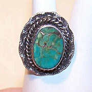 Vintage STERLING SILVER & Turquoise Ring - Native American/Southwest Indian Design!