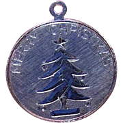 Vintage STERLING SILVER Disc Charm - Merry Christmas Tree Dated 1965!