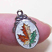 Vintage STERLING SILVER & Enamel Charm - Maple Leaf!