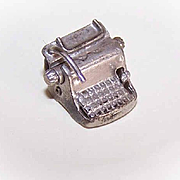 Vintage STERLING SILVER Charm - Old Underwood Typewriter!