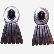 Interesting STERLING SILVER & Black Onyx Earrings!