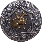 SOLD ANTIQUE VICTORIAN Metal Button - Bronze Griffin/Gryphon within a Silvered Border!