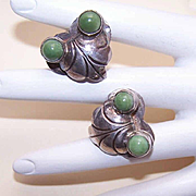 Vintage STERLING SILVER & Dyed Onyx Screwback Earrings from Mexico!