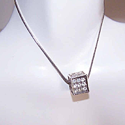 Vintage STERLING SILVER Chain Necklace with Rhinestone Cube Pendant!