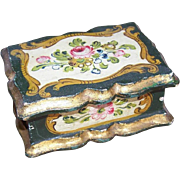 Hand Painted ITALIAN TOLE Wood Box - Florals on a Hunter Green & Gilt Background!