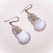 Stunning VINTAGE Carved Mother of Pearl & Peridot Drop Earrings!