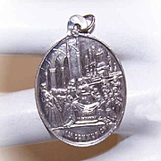 Unused Antique Victorian FRENCH SILVER First Communion Medal/Charm!