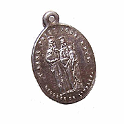 Antique Edwardian FRENCH SILVERPLATE Religious Medal - Saint Anne, Virgin Mary & Infant Jesus!