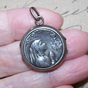 Rare ANTIQUE EDWARDIAN French Silver Locket - Young Girl at First Communion!
