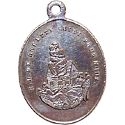 C.1900 FRENCH SILVERPLATE Religious Medal - Virgin & Child/Notre Dame de Lorette!