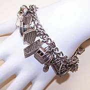 Vintage STERLING SILVER Charm Bracelet with 24 Charms!