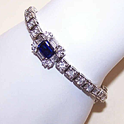 Stunning STERLING SILVER & White/Blue Rhinestone Fashion Bracelet!