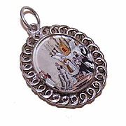 ANTIQUE VICTORIAN French Silver & Mother of Pearl FIRST COMMUNION Medal/Charm!