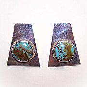Vintage TAXCO, Mexico STERLING SILVER & Turquoise Pierced Earrings!