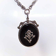 Vintage STERLING SILVER, Black Onyx & Marcasite Pendant on Chain!