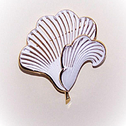 SOLD Vintage Gold Tone Metal & Cold Enamel Costume Pin by MONET!
